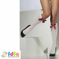 WHITE SCHOOL GIRL KNEE HIGH SOCKS WITH TARTAN BOW ladies womens hosiery