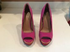 size 6 HEART IN D womans shoes - sexy fabric hot pink/red stiletto heels - NEW!