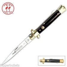 "Kissing Crane Black Italian Stiletto Pocket Knife 4"" Blade FREE SHIPPING in USA"