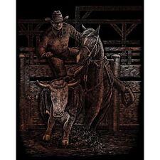 COWBOY BULL & HORSE RODEO A4 COPPER SCRAPER FOIL ENGRAVING ART KIT & TOOL COPF29