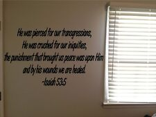 Isaiah 53:5 Bible Verse Christian Jesus Crucified Vinyl Wall Decal Quote Sticker