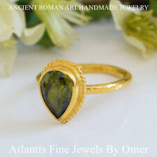 STERLING SILVER  PEAR PERIDOT RING  24K GOLD VERMEIL HANDMADE JEWELRY BY OMER