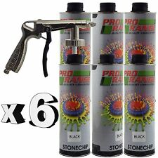 Pro Range 6 x 1 Litre Black Stone Chip + Spray Gun Can be over Painted Paintable