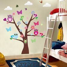 Owls Tree Butterfly Wall Sticker Decals Room Decor Vinyl Mural Kids Nursery A