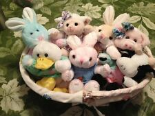 7 Jointed Hand Crafted Easter Bunny Duck Lamb Plush In Fabric Wicker Basket New