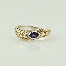 JOHN HARDY - AMETHYST, 18K YELLOW GOLD & STERLING SILVER STACKABLE RING SIZE 7.5