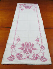 Vintage Table Linen - Hand Embroidered Table Runner, Pink Floral Design