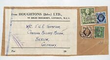 J369 GB KGVI REGISTERED PARCEL Piece*Canadian Military Mission*Berlin 2s/6d Arms