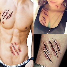 Halloween Removable 3D Scary Zombie Tattoo Costume MakeUp Blood Injury Wound 2Pc