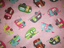 RETRO TRAILERS VINTAGE CAMPERS PINK TRAILER COTTON FABRIC FQ