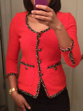 RARE ! ZARA RED FANTASY BLAZER JACKET ZEBRA LINING BOUCLE SMALL S  NEW