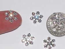 2pc Tiny metal Christmas crystal Snowflakes rare charm flatbacks floating SV**