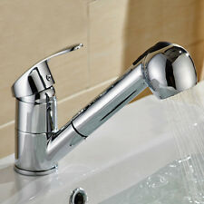 Pull Down Single Handle Pull Out Sprayer Shower Kitchen Sink Water Tap Faucet