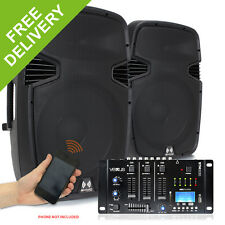 """Pair RS-15"""" Active Powered DJ PA Speakers Vexus USB SD MP3 Bluetooth Mixer 1600W"""