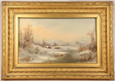 EARLY SAN FRANCISCO CALIFORNIA WINTER LANDSCAPE OIL PAINTING LISTED MEYER STRAUS