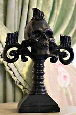 Large Black HALLOWEEN Decor Skull 3 arm Candelabra Candle Stick Ornament