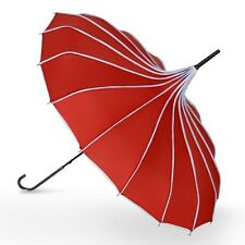 Ladies Katie Vintage Style Pagoda Umbrella - Red with White Polka Dot Trim