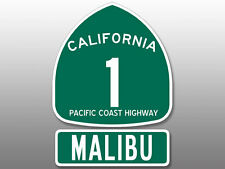 (2 Pcs: 5x5 inch total) PCH Highway 1 Sign and MALIBU Stickers -pacific beach ca