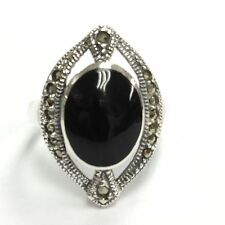 ART DECO INSPIRED BLACK ONYX MARCASITE RING 925 STERLING SILVER SIZE 8