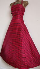 VINTAGE MONSOON TWILIGHT SZ 10 PINK BLACK CHECK SILK DRESS 50'S BALL GOWN PROM 8