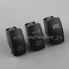 3× 5-Pins Front&Rear&LED Light Laser Rocker Backlit Blue Switch For Car SUV UTV