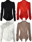 Womens Ladies Ruched Sleeve Button Front Panel Slim Fit Blazer Jacket Size 8-14