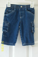 BABY BOYS BLUE DENIM JEANS 0 - 6 MONTHS (11 lbs) ADAMS ELASTIC WAIST & POCKETS