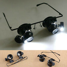 20X Magnifier Eye Glasses Jeweler Loupe Lens Magnifying LED Light Watch Repair