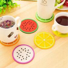 4er Set Untersetzer Frucht Glasuntersetzer rund bunt PVC Melone Zitrone