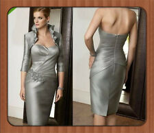 Zipper Back Taffeta Silver Ruched Sheath Mother of the Bride Dresse With Jacket