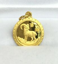 24K Solid Yellow Gold Cute Animal Sign Round Sheep Charm/ Pendant. 1.90 Grams