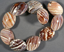 UNIQUELY PATTERNED BROWN & TAN ASIAN LAND SNAIL SHELL BEADS 30X22MM (10)
