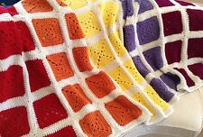 NEW Modern Granny Square Afghan Throw Multicolor Hand Crocheted Baby