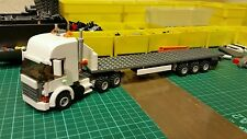 LEGO CITY CUSTOM WHITE HIGHLINE  TRUCK WITH TRI-AXL FLATBED TRAILER MK 3L@@K