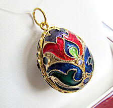 SOLID STERLING SILVER 925 & 24K GOLD HANDMADE ENAMELED EGG PENDANT with FLOWERS