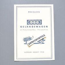 ✇ AUTO UNION MUNGA Preisliste von 1958 pricelist Typ A B C Pritsche