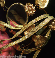 """Antique Vintage Gold Metallic Tape Lace Ribbon Embroidery Trim 3/8"""" Christmas pY"""