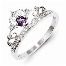 STERLING SILVER NATURAL GENUINE AMETHYST & DIAMOND CROWN RING - SIZE 7
