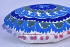 "16"" BLUE ROUND DECORATIVE FLOOR SEATING CUSHION PILLOW COVER Indian Boho Decor"