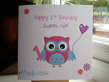 Handmade Personalised Sweet Girl Birthday Card Niece Daughter Goddaughter 1 2 3