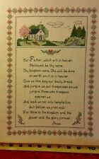 Antique The Lords Prayer / Our Father Cross Stitch  Finished