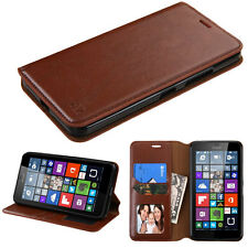 For Lumia 640 XL Brown MyJacket Wallet +Tray Protector Cover Case