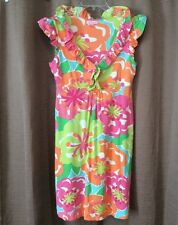 Lilly Pulitzer Medium Clare Dress Silk Cotton Bright Floral Ruffles Cover Up