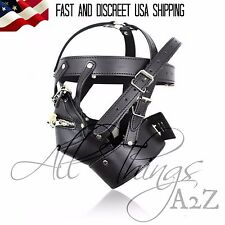 Lockable Black Gimp Hood Zipper Mouth Restraint Sensory Deprivation Mask BDSM