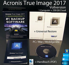 Acronis True Image 2017 versione completa 1 PC/MAC BOX, Cd ABO + UNIVERSALE Restore NUOVO