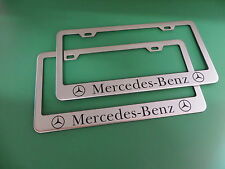 "(2)NEW "" MERCEDES-BENZ "" Stainless Steel license plate frame +screw caps"
