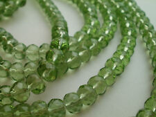 40 GREEN FACETED  ABACUS GLASS BEADS 8mm DIAMETER