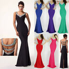 Long Bridesmaid Strappy Dress Evening Gown Prom Dresses Formal Party Ball Gowns