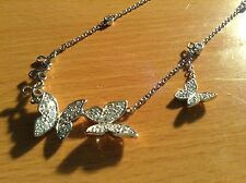 "Butterfly Necklace silver tone Rhinestones Lobster clasp 16 "" Sparkle New in Box"