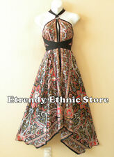 1D99 - Versatile Paisley Silk Multi Wear Scarf Long Maxi Halter Dress, Maternity
